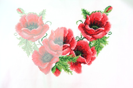 bead embroidery: poppies with beaded on embroidery