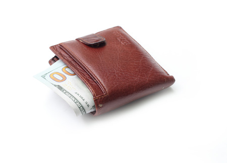 change purse: brown wallet with money Stock Photo