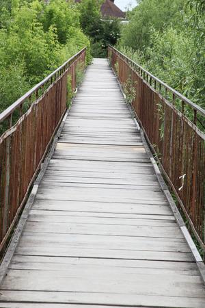 hinged: hinged wooden bridge