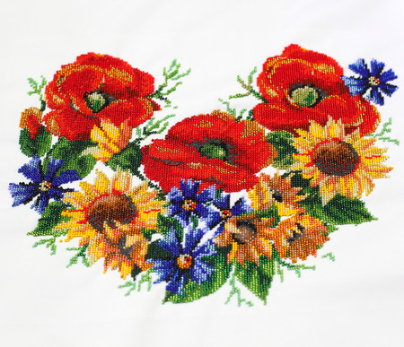 Ukrainian embroidery. Embroidery beads. Pattern of flowers