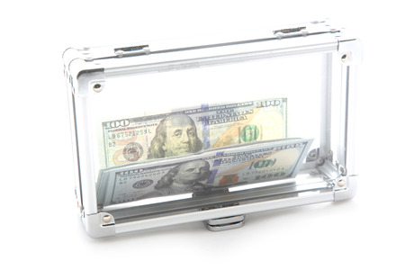 miserly: Money in a glass box