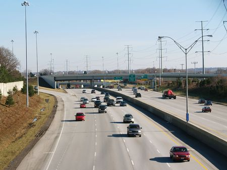striping: Looking down on the westbound lanes of I-480 in Cleveland, Ohio Stock Photo