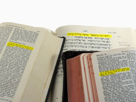Isaiah 55:6 highlighted in English (KJV), German, and Hebrew Bibles, with