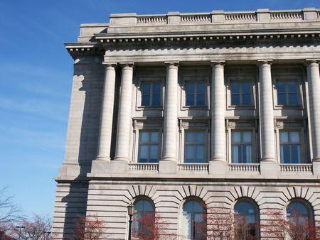 crenelation: Corner of City Hall, Clevelan, Ohio Stock Photo