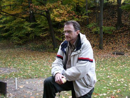 pit fall: Man contemplating nature Stock Photo