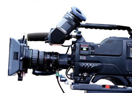 audiovisual: Close-up of TV camcorder Stock Photo