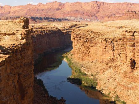 strata: The Colorado River at Marble Canyon Stock Photo