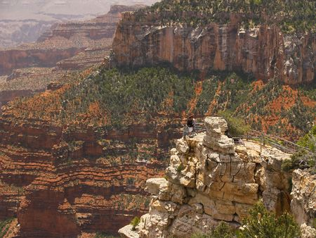 intentionally: Grand Canyon overlook at the North Rim (faces intentionally blurred)