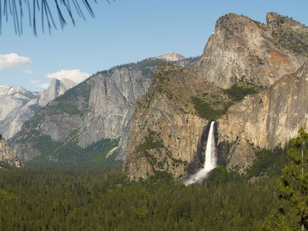 bridalveil fall: View of Yosemite Valley with Bridalveil Fall and Half Dome