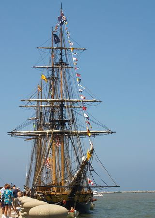 tall ship: A tall ship (brig) at dockside