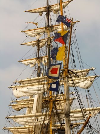 tall ship: Sails and rigging on a barque (tall ship)
