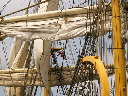 tall ship: Close-up of sails and rigging on a tall ship
