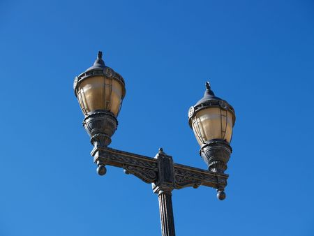 sconce: Old-fashioned light pole in a decorative motif