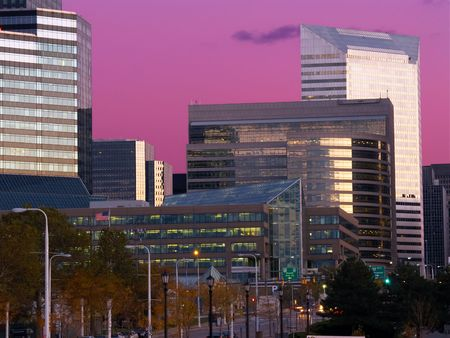 Office buildings in Cleveland, Ohio, at twilight Stock Photo - 623630