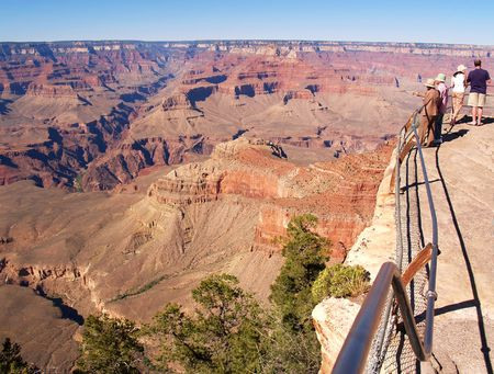 sightseers: Bright Angel Canyon in the Grand Canyon, from Mather Point