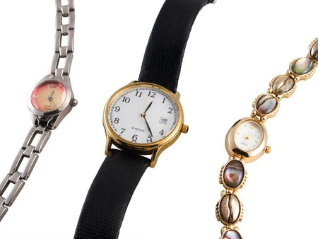 Three wristwatches isolated on a white background