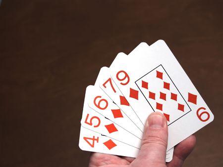 decepci�n: Mano de p�ker decepci�n, una tarjeta t�mido de una escalera de color