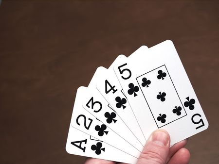 straight flush: Poker hand, straight flush in clubs from ace to five