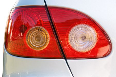 taillight: Close-up of a taillight on a silver car Stock Photo