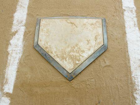 plate: Close-up of home plate on a municipal baseball diamond Stock Photo
