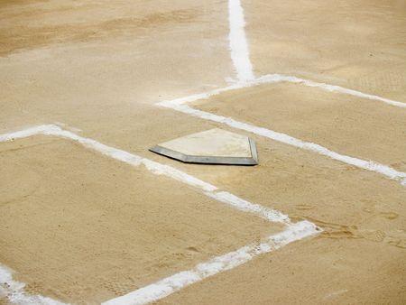 Home plate and chalk lines on a baseball diamond Stock Photo - 1106777