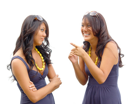 identical: Identical twin sisters having a spirited discussion