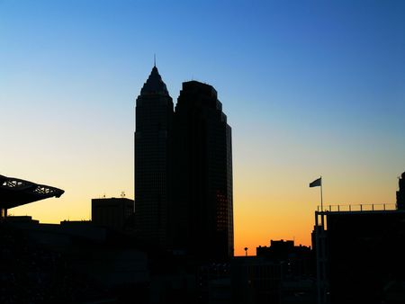 Silhouette of two skyscrapers after sunset photo