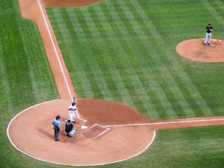 Batter ready for the pitch in a major league baseball game (genericized) Stock Photo