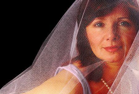 gauzy: Beautiful woman in a gauzy veil, like a brides
