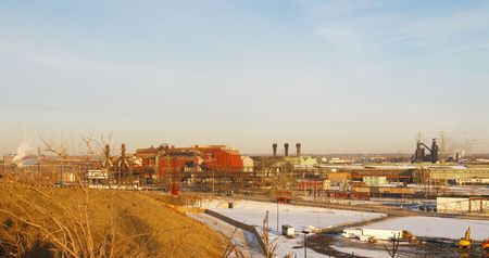 steelworks: Industrial valley with steel mills in late afternoon light