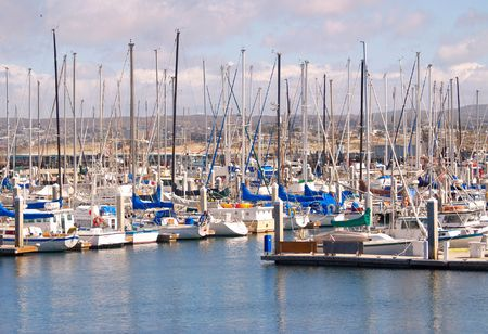 monterey: Sailboats lined up in the marina at Monterey, California