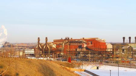 mill valley: Old, but still working, steel mill in an industrial valley