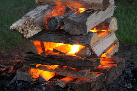 kindling: A newly lighted bonfire beginning to glow hot
