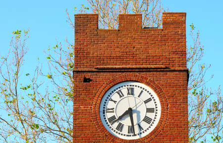 crenelation: Clock face on the old clock tower in Hudson, Ohio