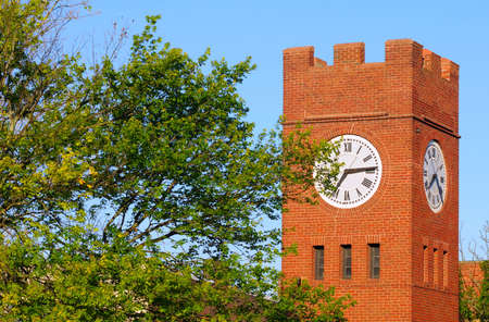 crenelation: Old clock tower on a bright morning in Hudson, Ohio