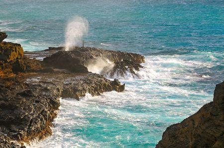 orificio nasal: El Hanole orificio en el extremo sudeste de Oahu, Hawaii