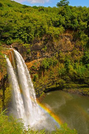 Wailua Falls with rainbow on the island of Kauai