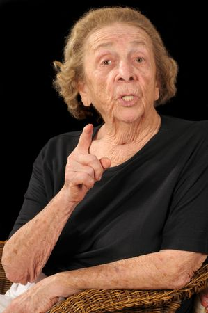 incensed: Senior citizen giving a piece of her mind