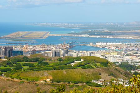 runways: Vista overlooking Honolulus National Cemetery of the Pacific (Punchbowl) with harbor and airport behind