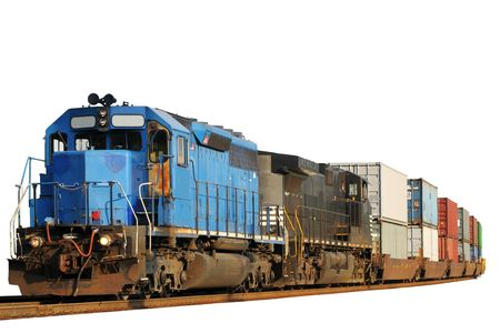 Two locomotives pulling a train of container cars, isolated on white Stock Photo