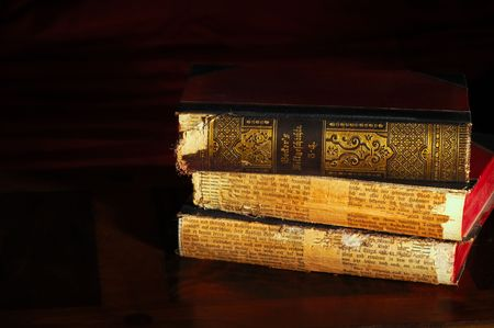 tomes: Stack of antique world history volumes in old German, light painted