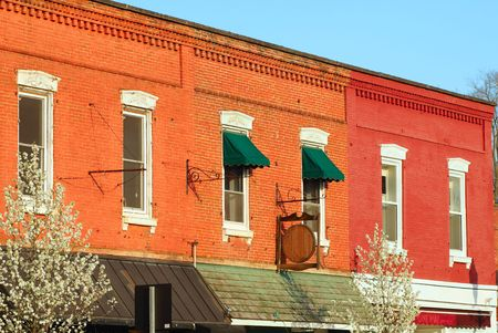 awnings: Brick facades of varying colors in downtown Chagrin Falls, Ohio