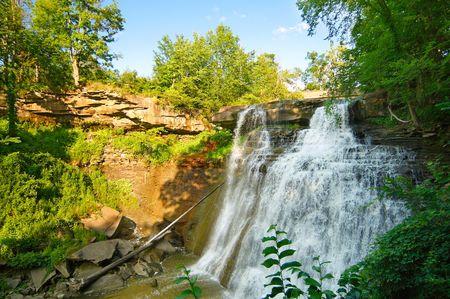 northeast ohio: Wide-angle view of Brandywine Falls in northeast Ohio