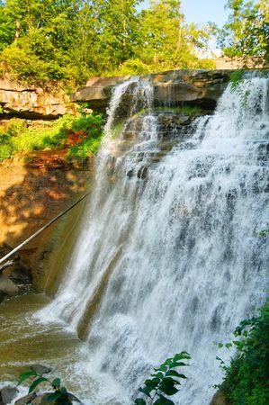 northeast ohio: Vertical view of picturesque Brandywine Falls in northeast Ohio Stock Photo