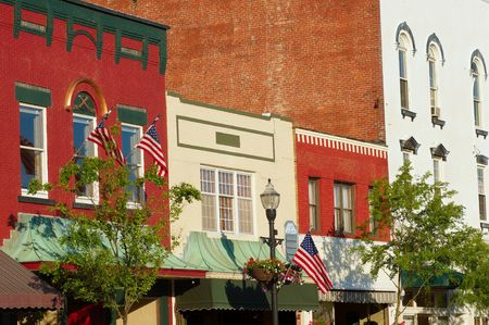 awnings windows: Picturesque facades and storefronts in downtown Chagrin Falls, Ohio Stock Photo