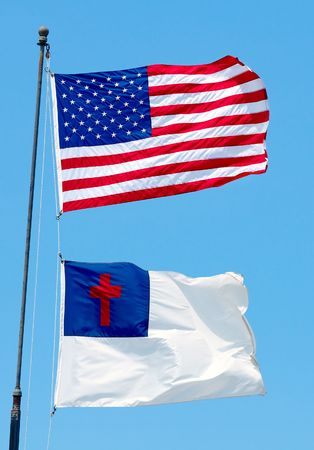 Church and state: the Christian (Protestant) flag flying below the United States flag photo