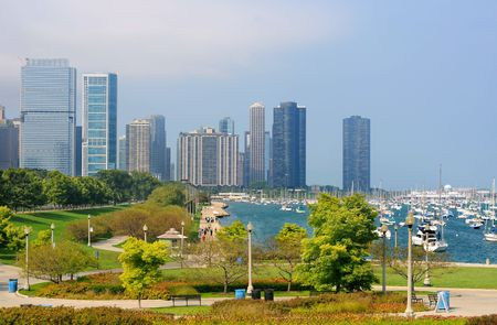 lakefront: Waterfront and marina in Chicago, with tall buildings in the background