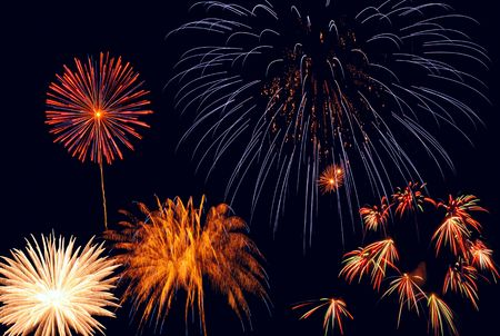Fireworks of varied shapes and sizes light up the night sky Stock Photo - 6485127