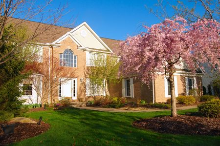 A beautiful home in the early morning light of spring with flowering cherry tree Stock Photo
