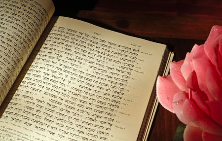 hashana: Text for Rosh Hashana, Leviticus 23:24, in the Hebrew Bible, with rose